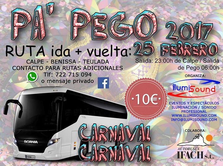 Autobús para Carnaval PEGO 25-Feb 2017 CALPE