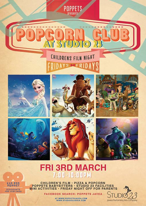 Popcorn Club - Kids Friday Film Night at Studio 23