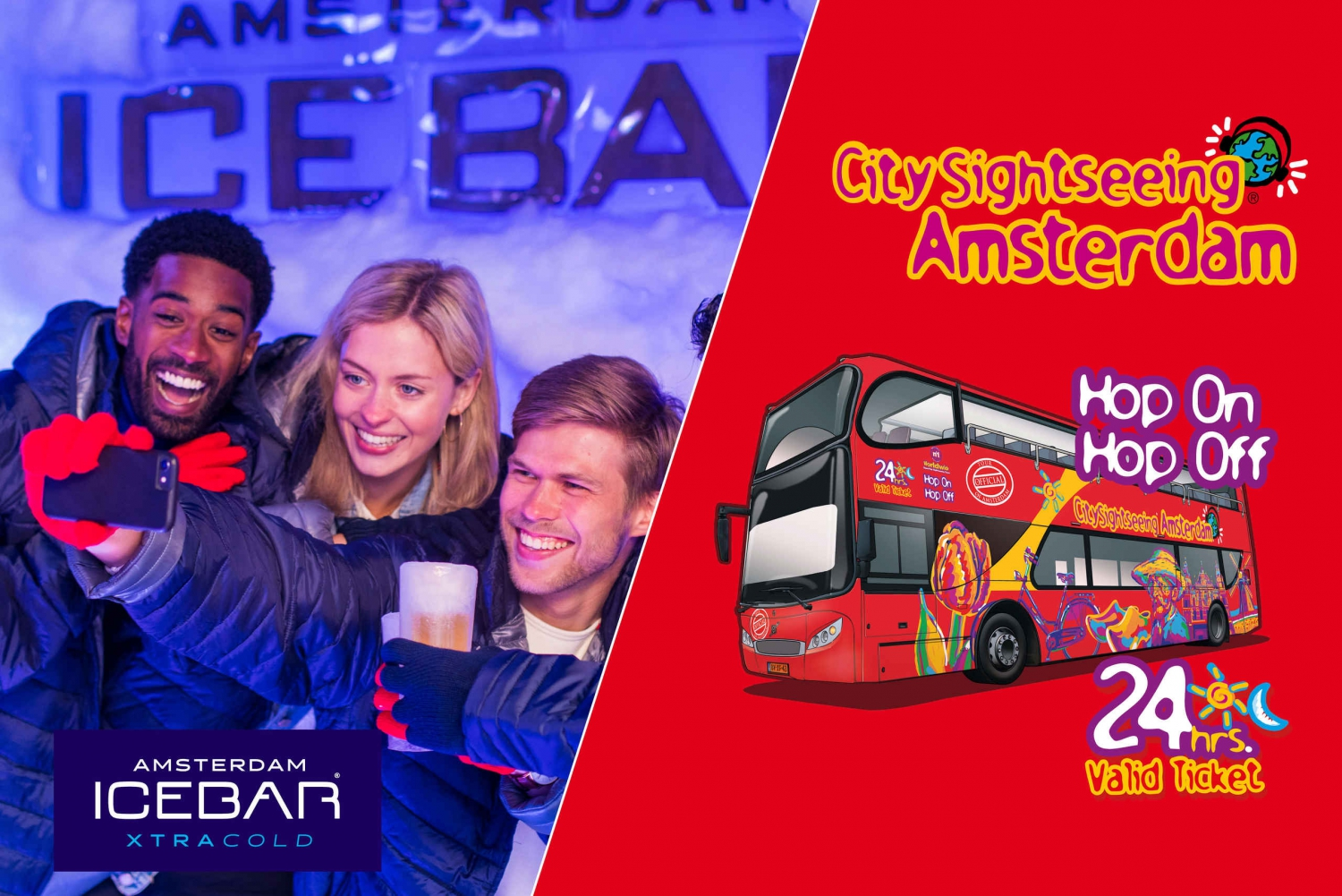Amsterdam 24-Hour Hop-On Hop-Off Bus and XtraCold Icebar