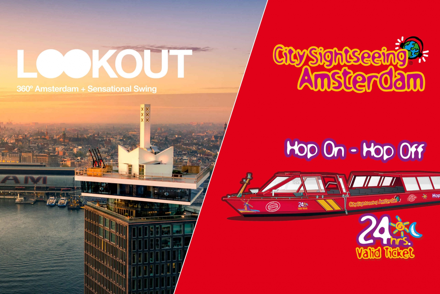 Amsterdam Hop-On Hop-Off Boat Ticket & A'DAM Lookout