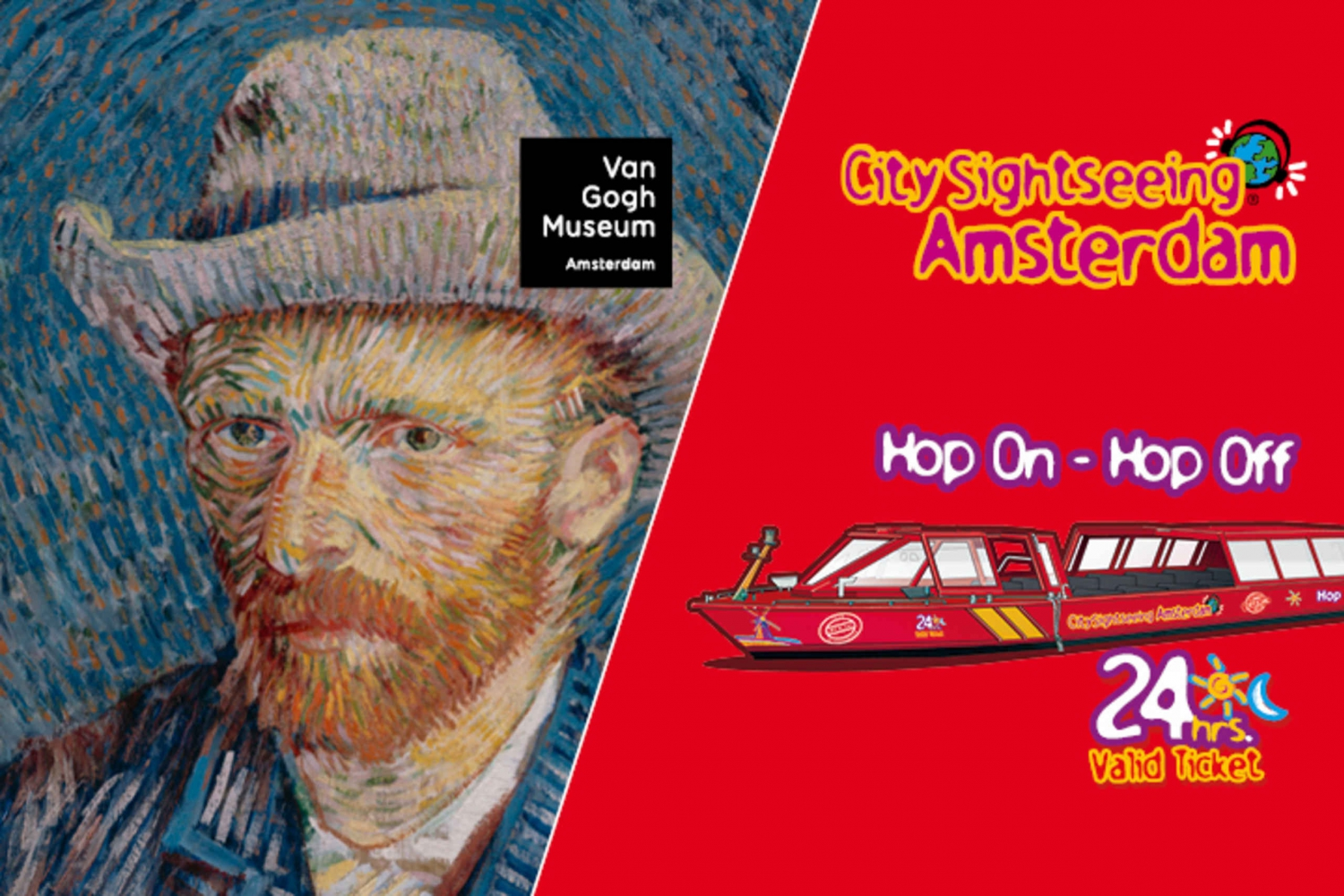 Amsterdam Hop-On Hop-Off Canal Cruise and Van Gogh Museum