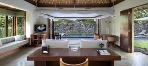 Villa lounge overlooking pool