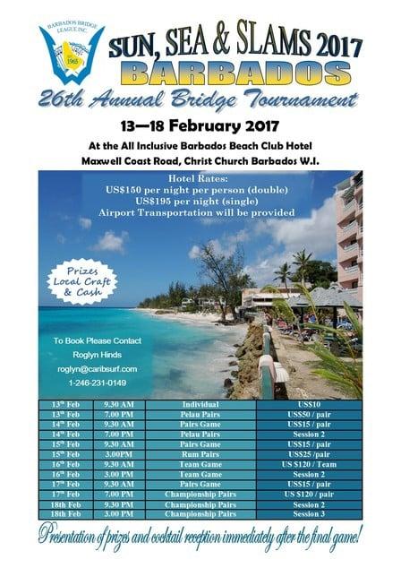 26th Annual Sun, Sea & Slams International Bridge Tournament 2017