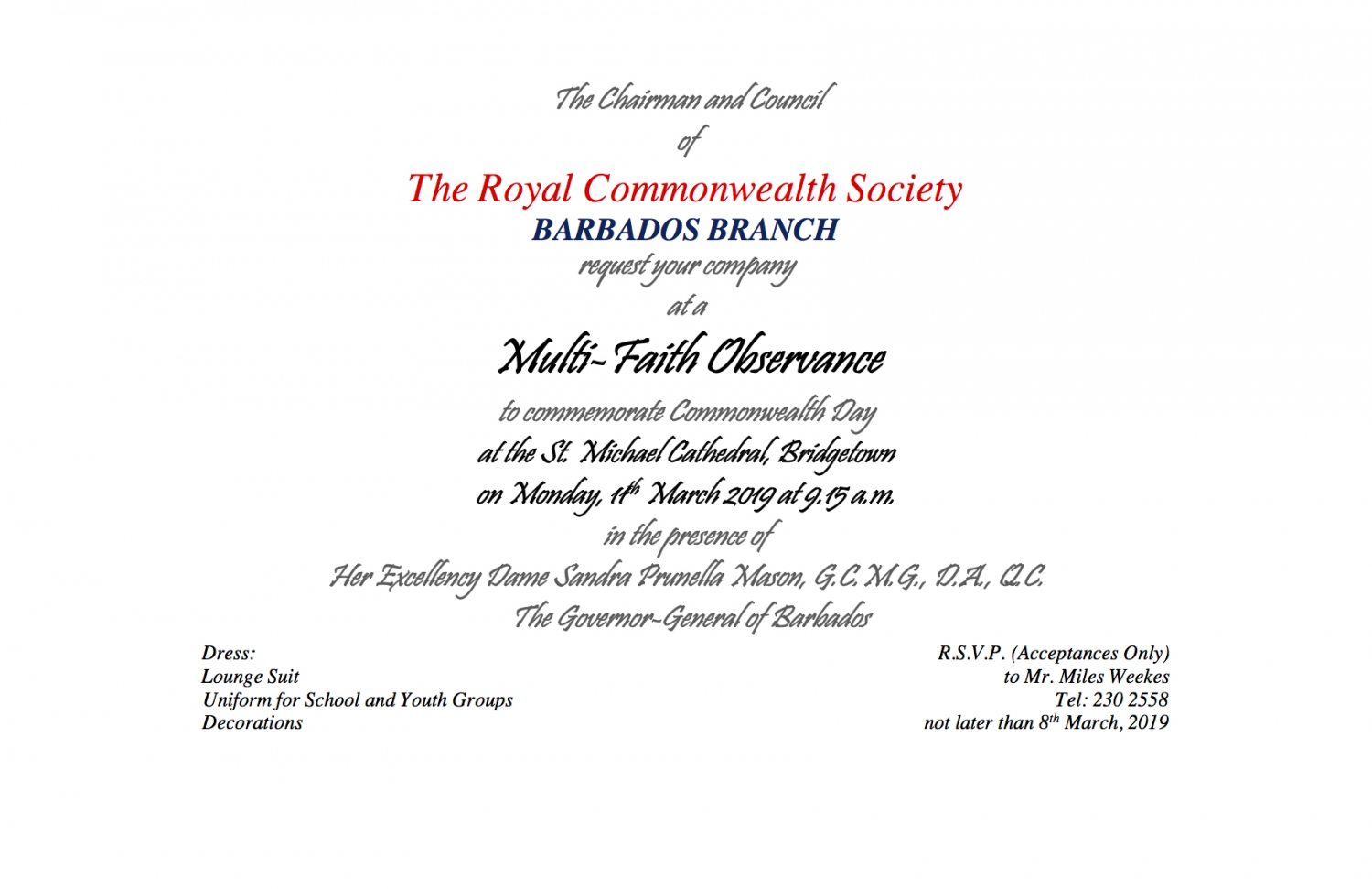 The Royal Commonwealth Society Barbados Branch - Multi-Faith Observance