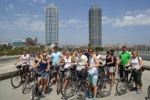 Barcelona Bike Tour with a Break on a Beach Terrace Bar
