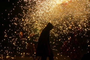 Correfoc Fire Running Evening From Barcelona