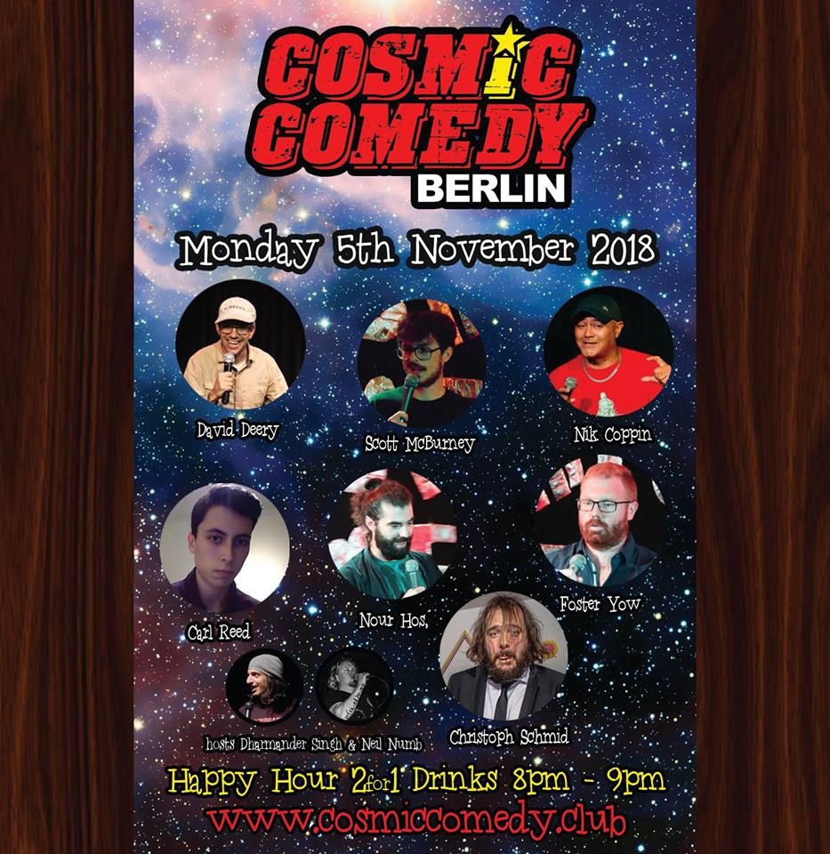 Cosmic Comedy Open Mic with Free pizza & shots