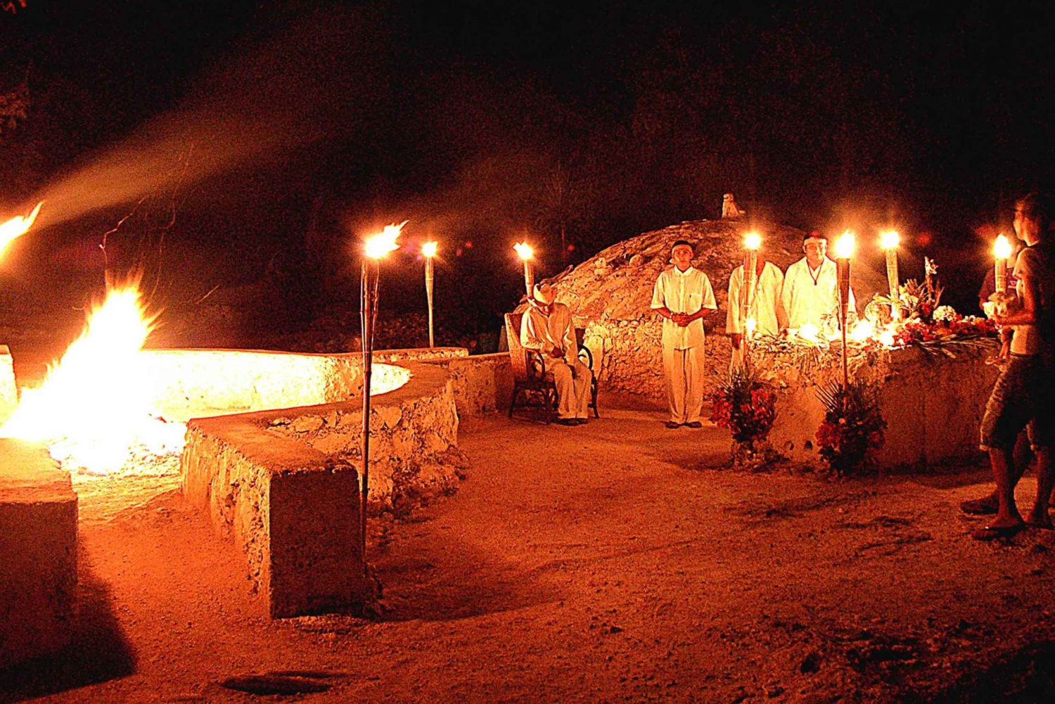 Mayan Temazcal Purification Ceremony at Night