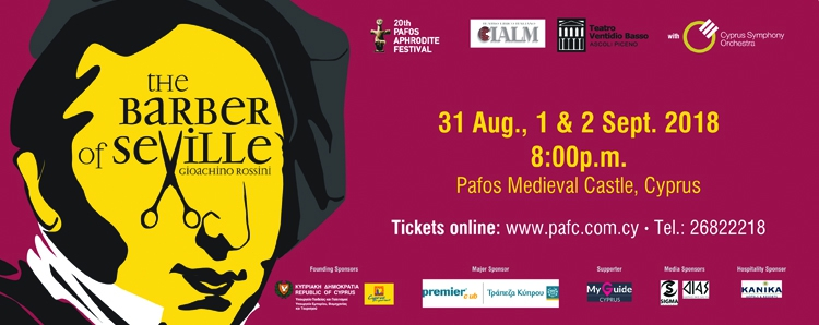 The 20th Pafos Aphrodite Festival presents Gioachino Rossini's popular opera Il barbiere di Siviglia (The barber of Seville)