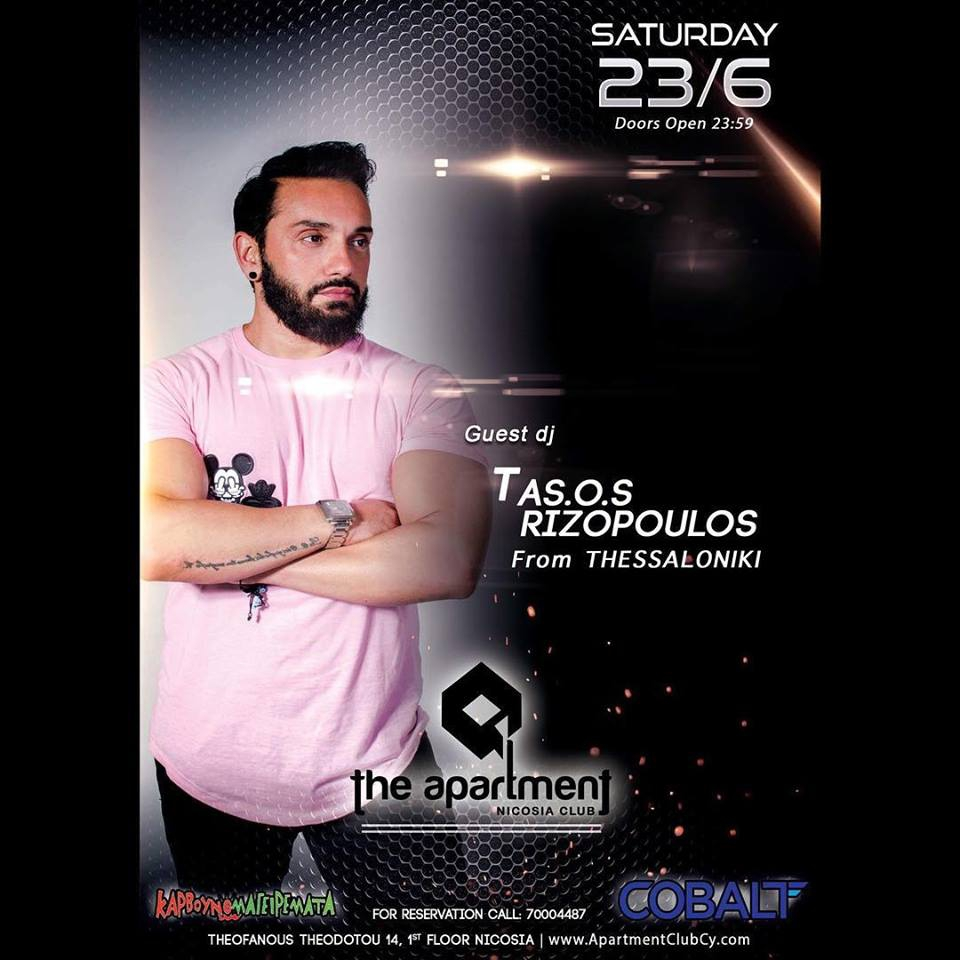 Guest dj Tasos Rizopoulos at Apartment nicosia club