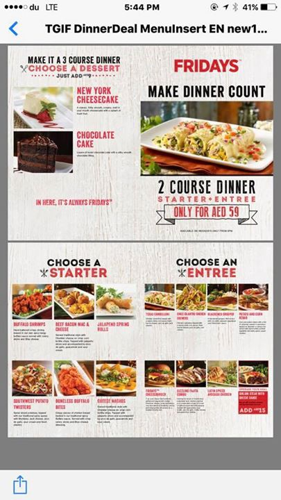 2 Course Dinner @Fridays Jumeira