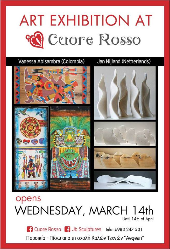 Art Exhibition. Paintings and Marble Sculptures