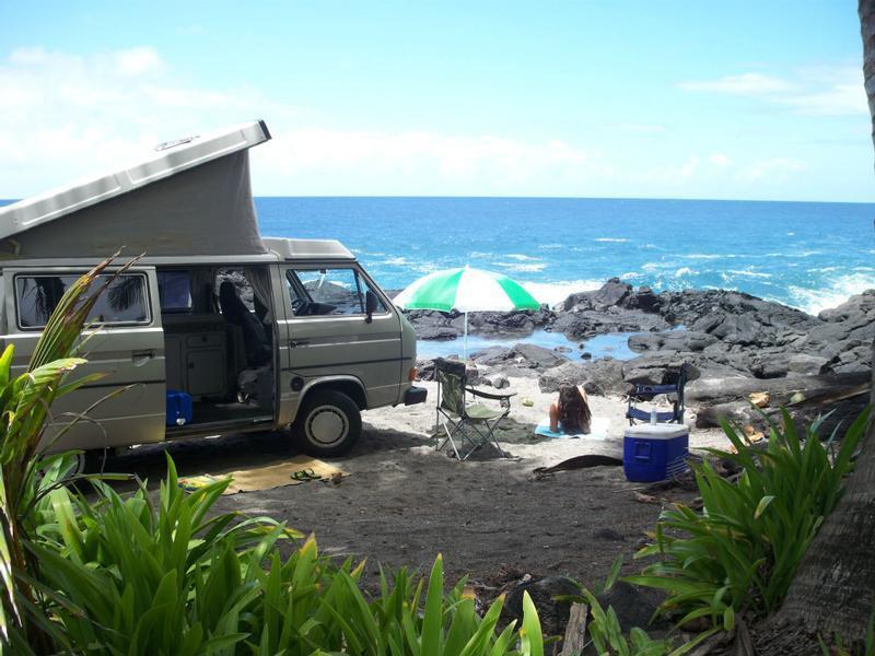 4b2e0573c3 ... Happy Campers Hawaii  Camper Van at the Beach ...