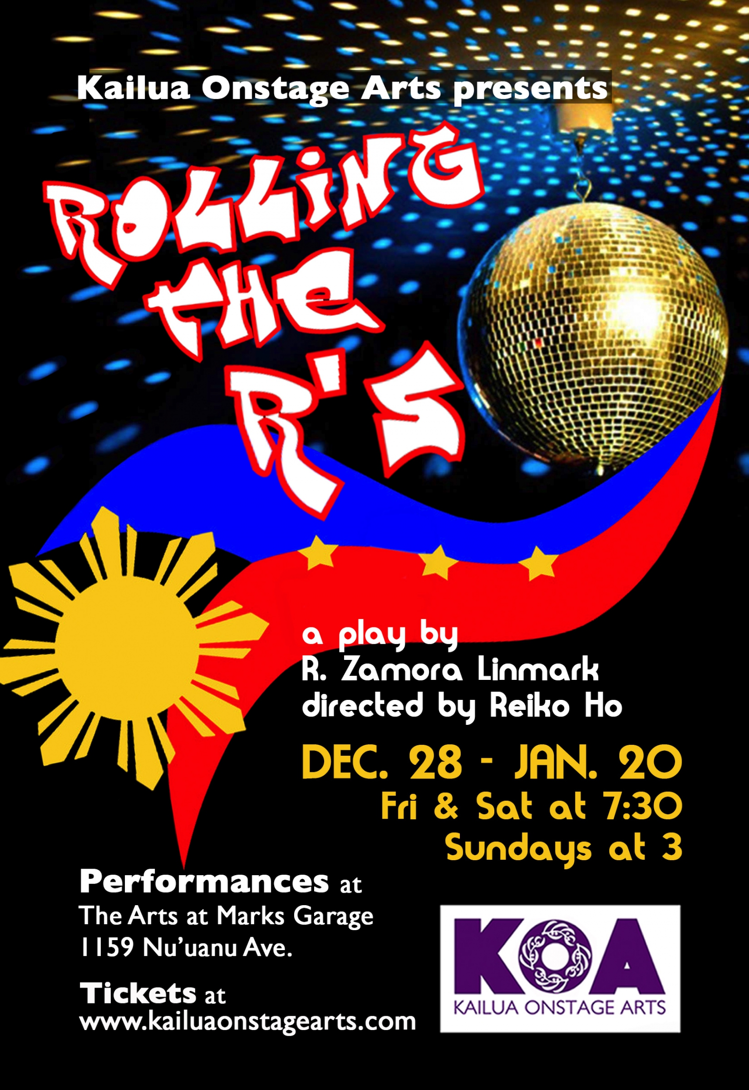 ROLLING THE R'S, a play by R. Zamora Linmark, directed by Reiko Ho