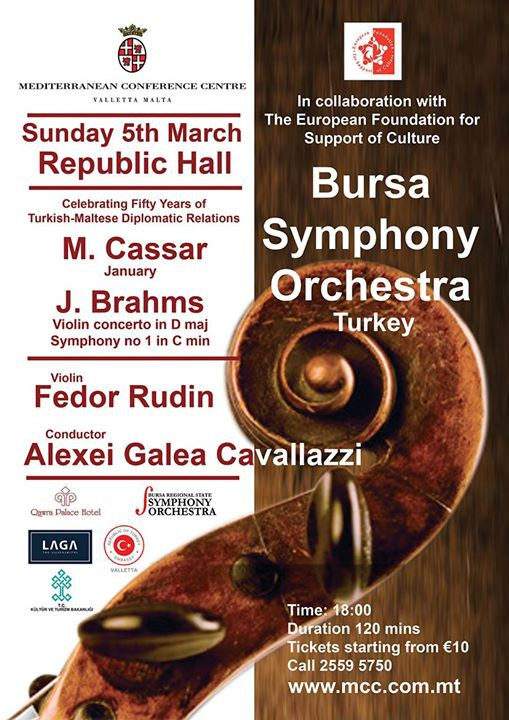 Bursa State Symphony orchestra plays Cassar and Brahms
