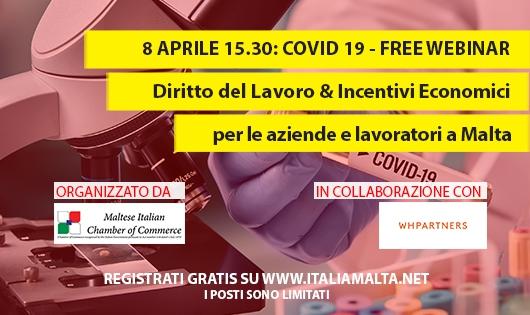 COVID-19 Webinar gratuito: Diritto del Lavoro & Incentivi Economici per le aziende e lavoratori a Malta
