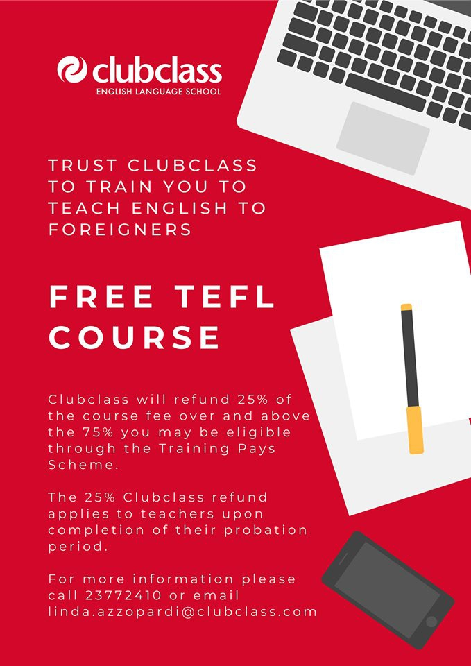 TEFL Course at Clubclass starting 1st July 2019