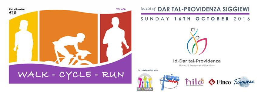 Walk Cycle Run 2016 in aid of Dar Tal-Providenza