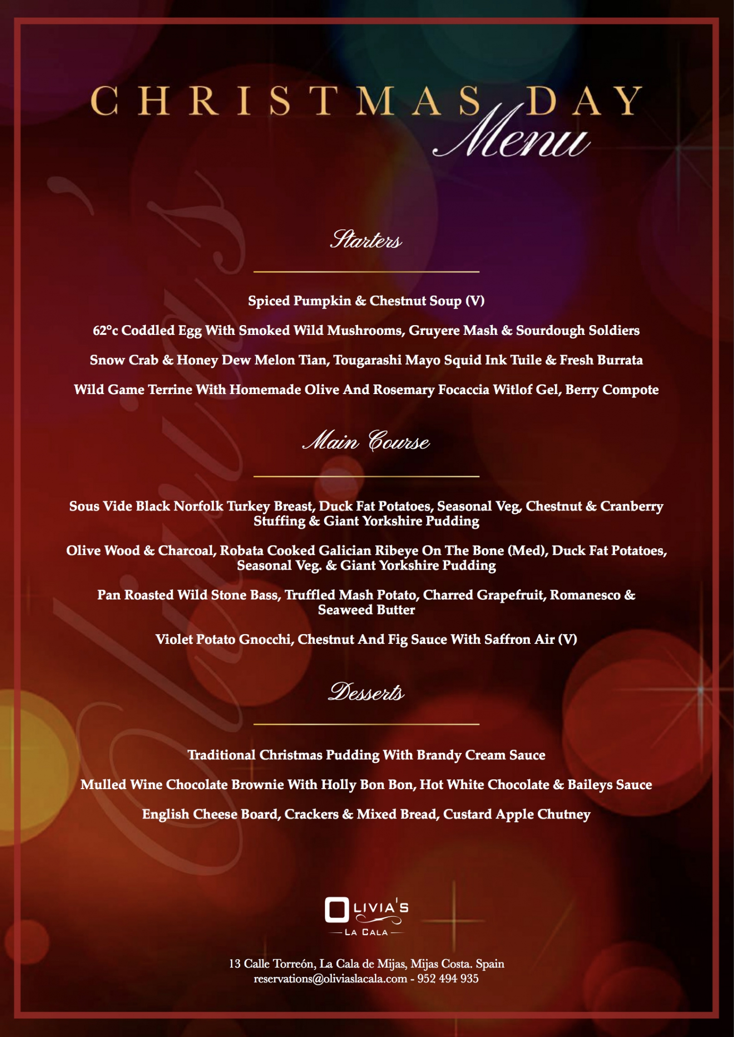 Christmas Day Menu at Olivias la Cala