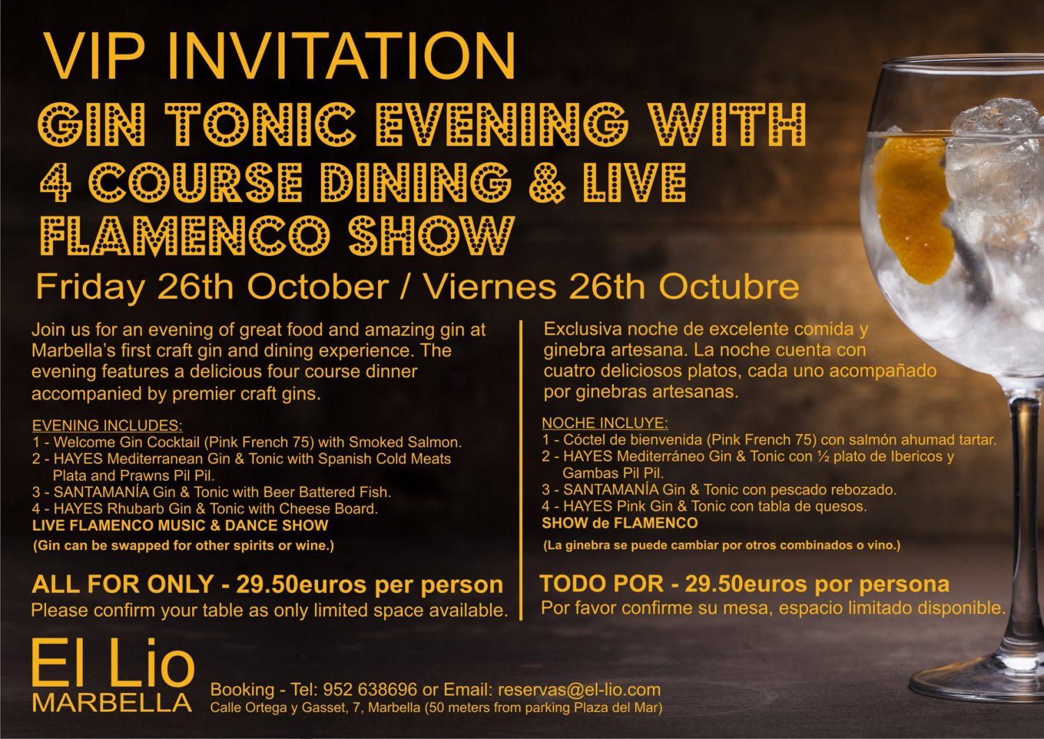 Gin Tonic Dinner And Show My Guide Marbella