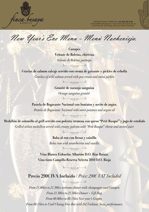 New Year's Eve Menu | Menú Noche Vieja