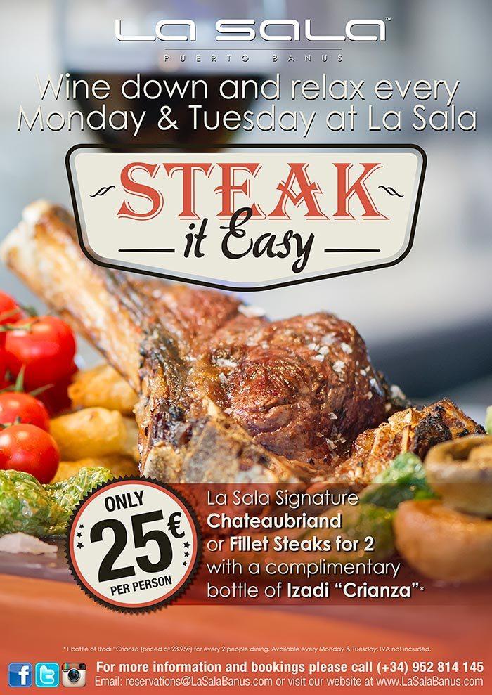 Steak it Easy offer at La Sala
