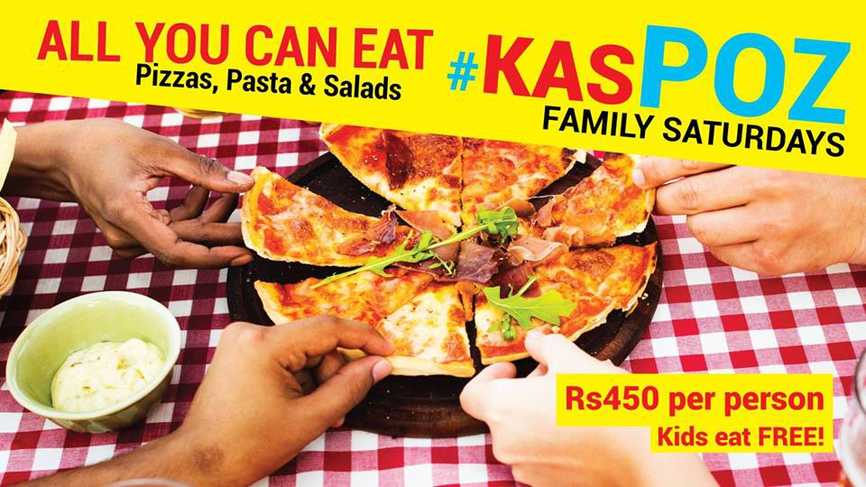 All you can eat pizzas, pastas, salads / Kas Poz Family Saturday