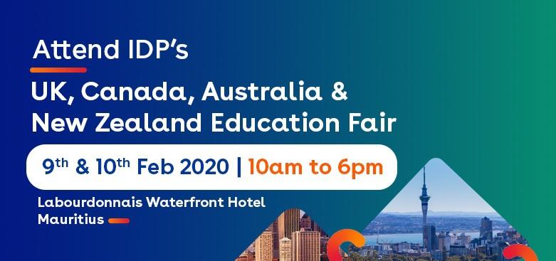 Attend IDP's UK, Canada, Australia & New Zealand Education Fair 2020