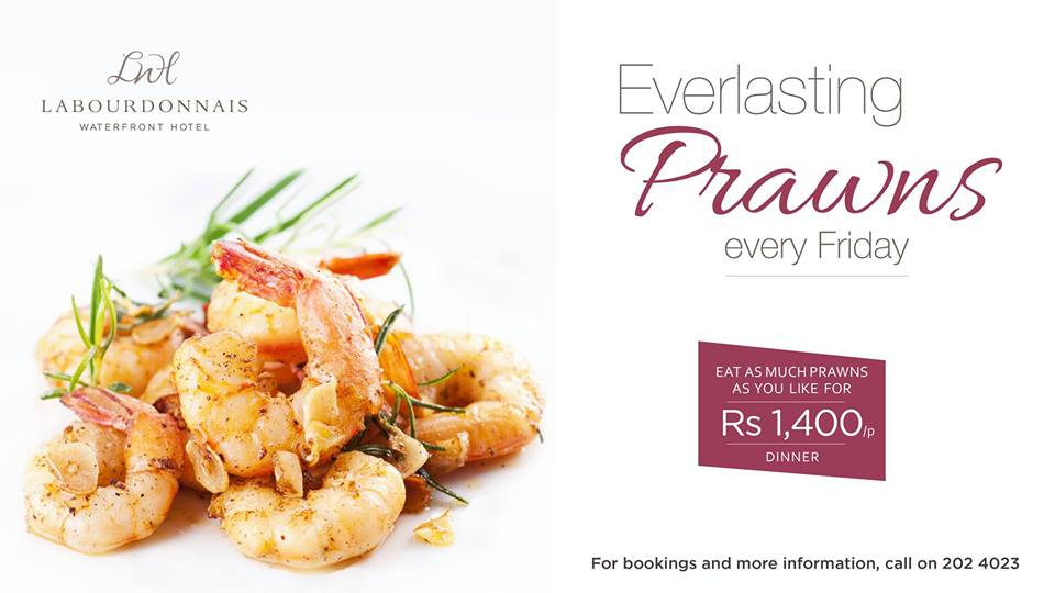 Everlasting Prawns at Labourdonnais Waterfront Hotel