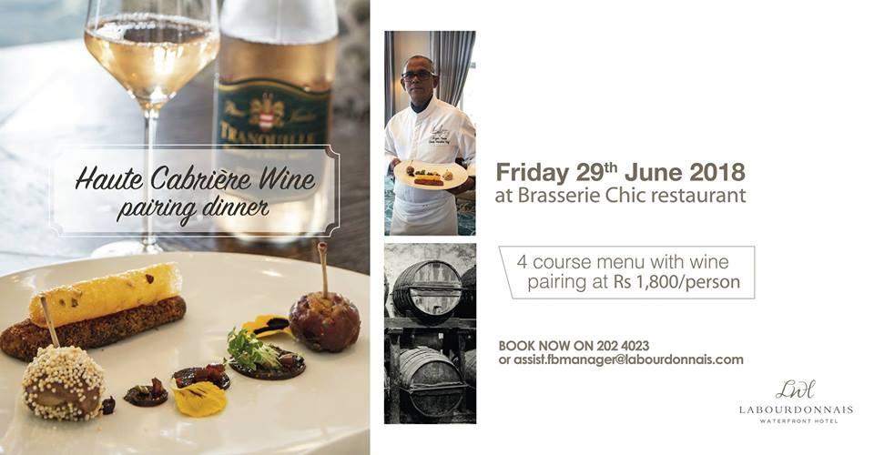 Haute Cabrière Wine pairing dinner at Labourdonnais Hotel