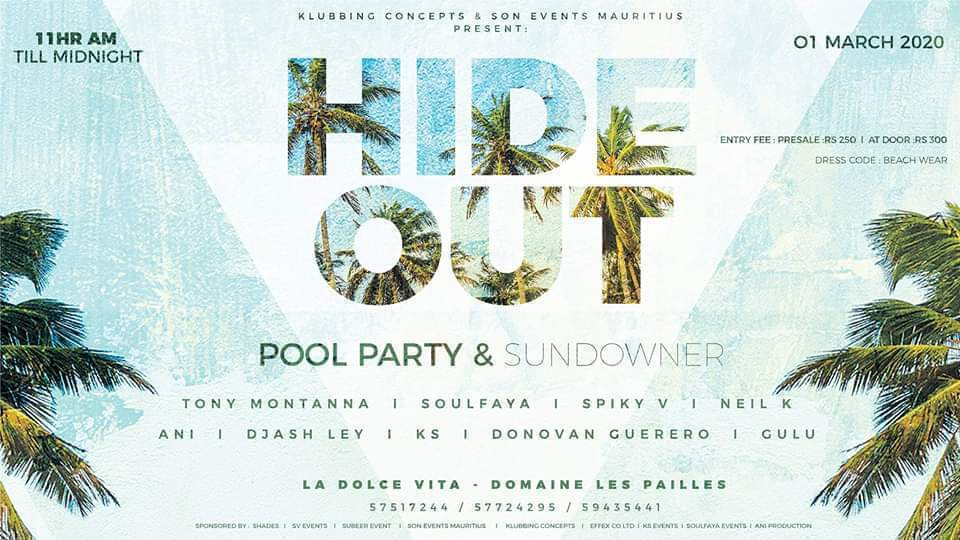 HIDE OUT POOL PARTY SUNDOWNER at La Dolce Vita