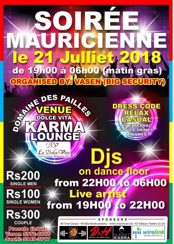 Soiree Mauricienne Sat21July 18 Karma Lounge Domaine Les Pailles