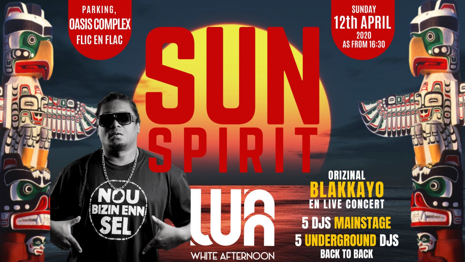 SUN Spirit at White Afternoon 2020 with Original Blakkayo at Oasis Complex Flic en Flac