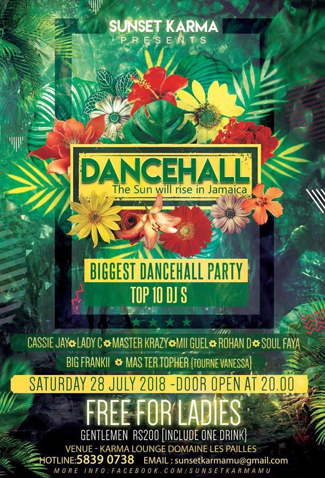 Sunset Karma Present Dancehall -28July18 @Domaine Les Pailles