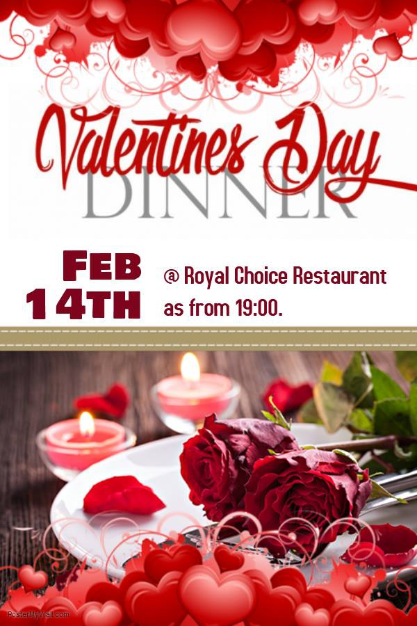 Valentines Day Buffet Dinner as from 19:00