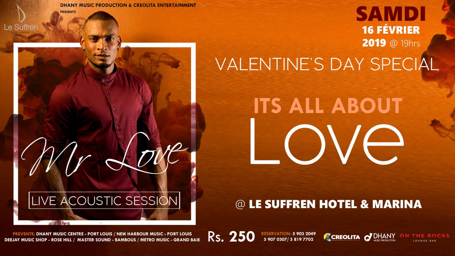 Valentine's Day @Le Suffren Hotel & Marina MR Love acoustic LIVE