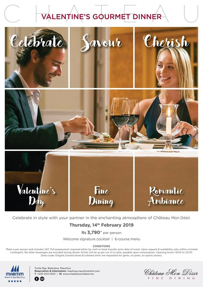 Valentine's Gourmet Dinner at Chateau Mon Desir