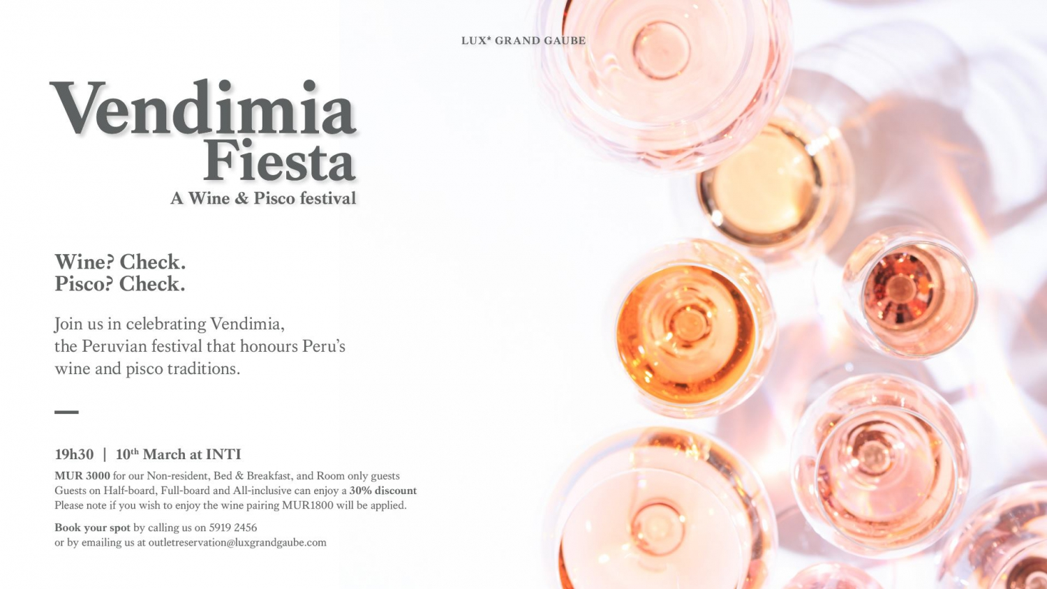 Vendemia Fiesta: A Wine & Pisco Festival at Lux Grand Gaube