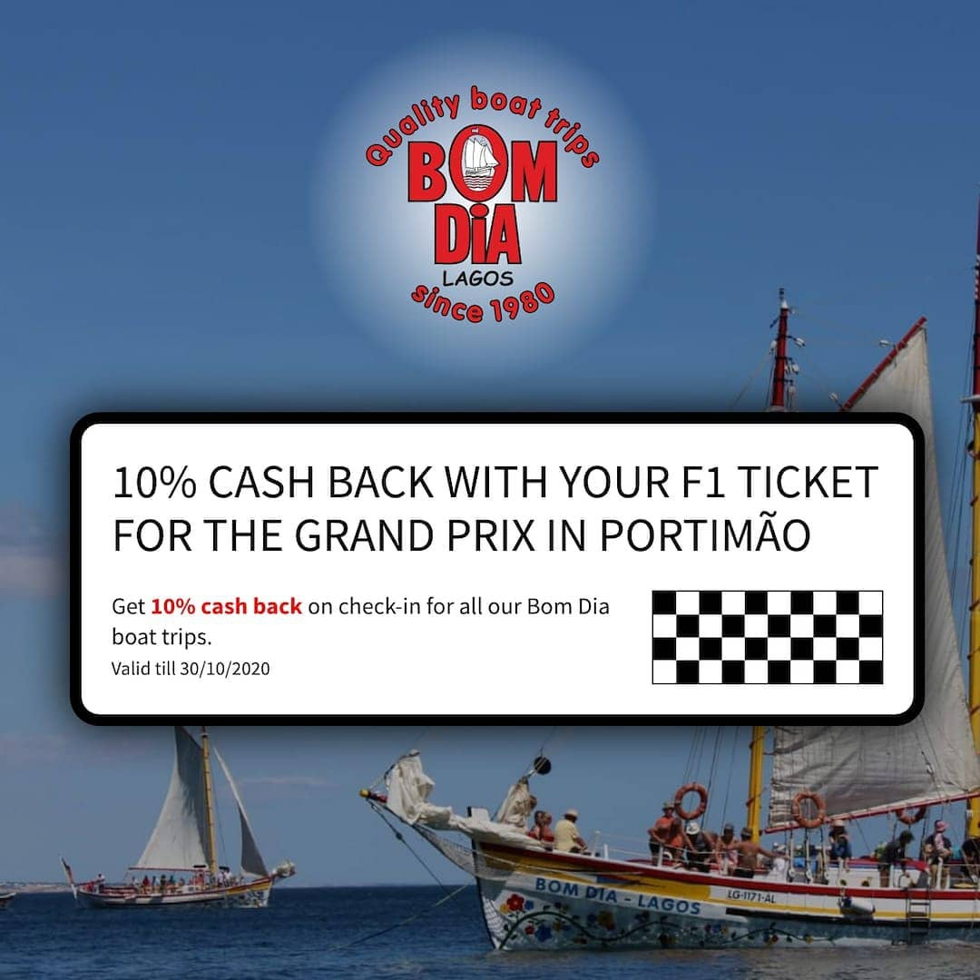 Cash Back on Portugal F1 tickets with Bom Dia Boat Trips