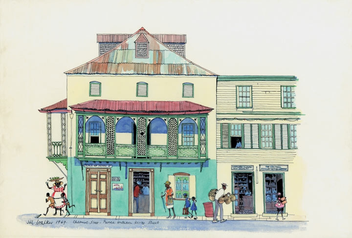 Jill Walker Painting of a Chemist Shop on Prince William Henry Street