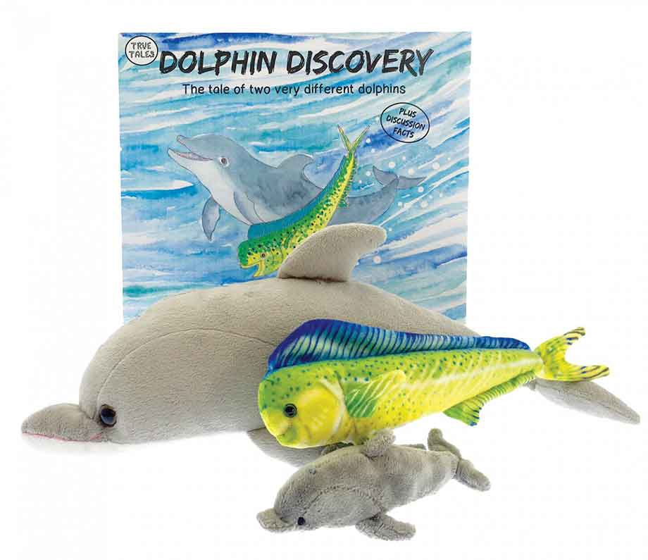 Dolphin discovery book with an adorable dolphin plush toy