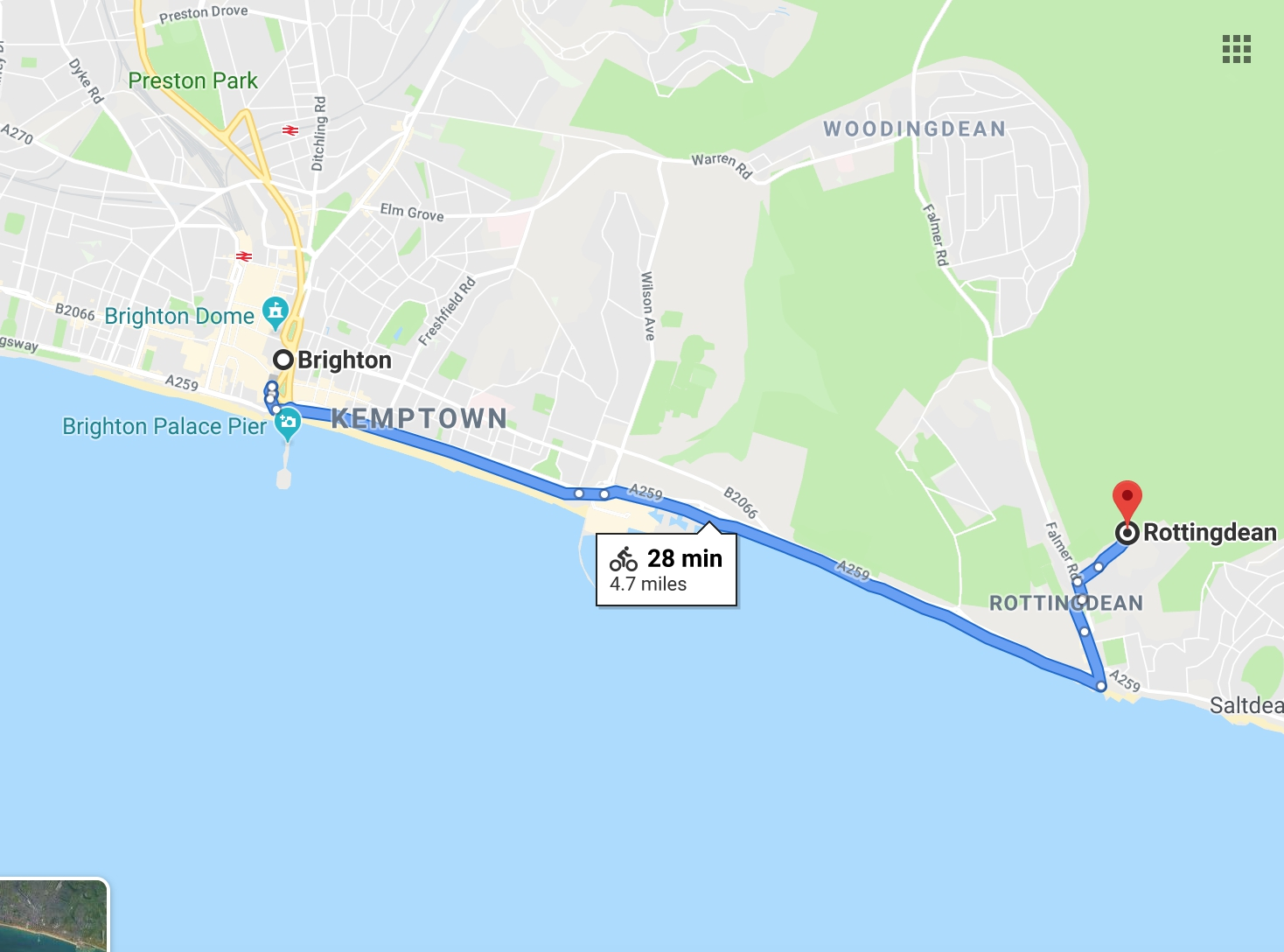 Coastal Rottingdean Route