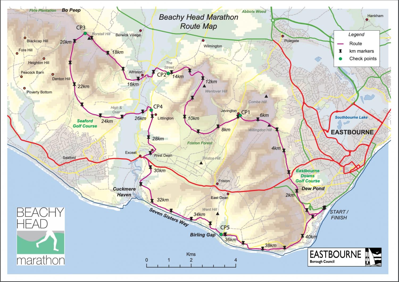 Beachy Head Marathon Route