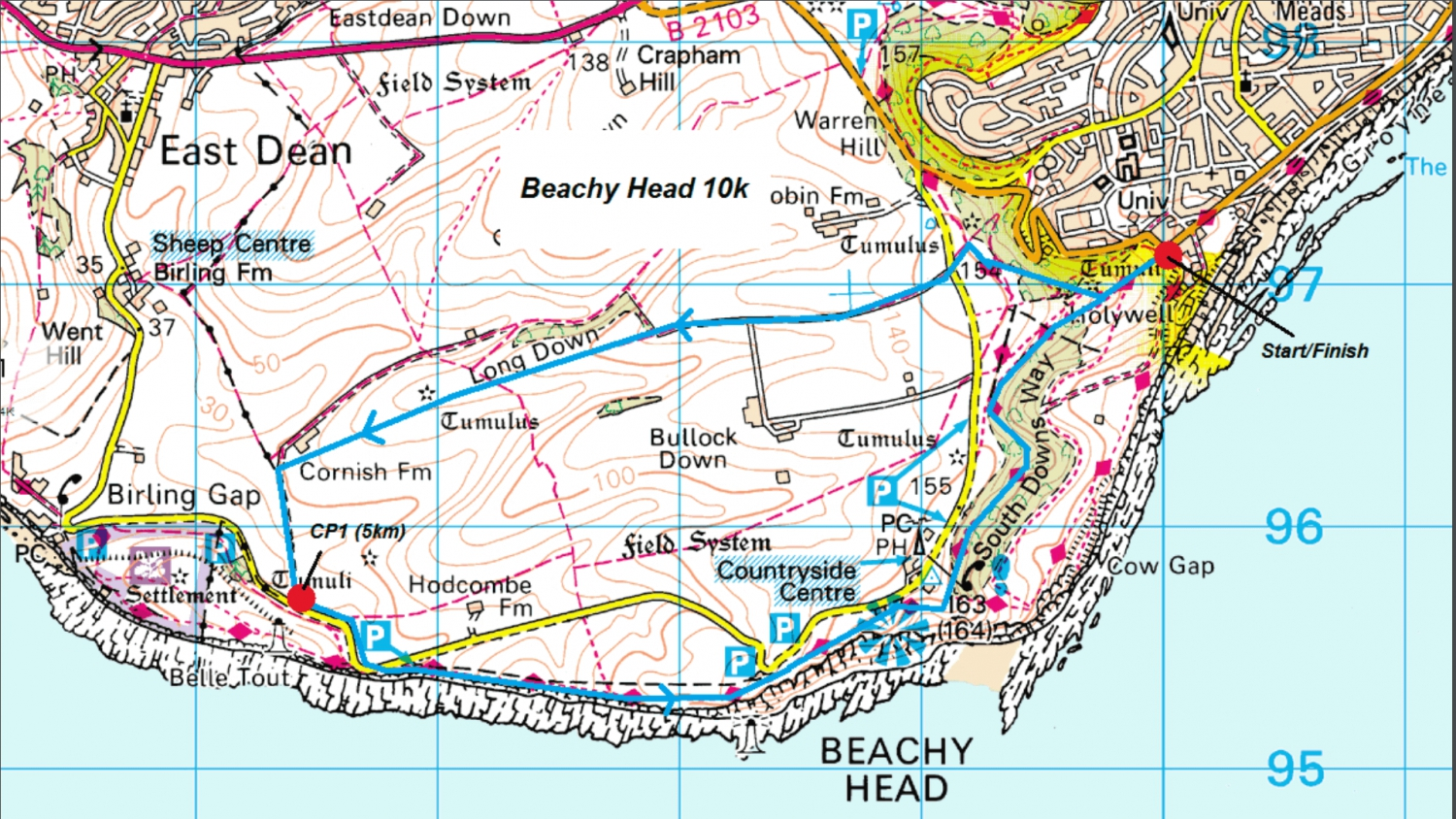 Beachy Head 10k route