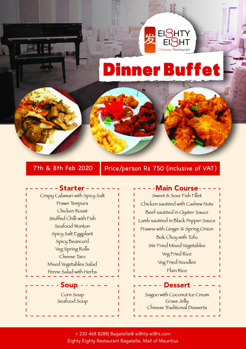 Eighty Eight Dinner Buffet Menu for 7th & 8th February 2020
