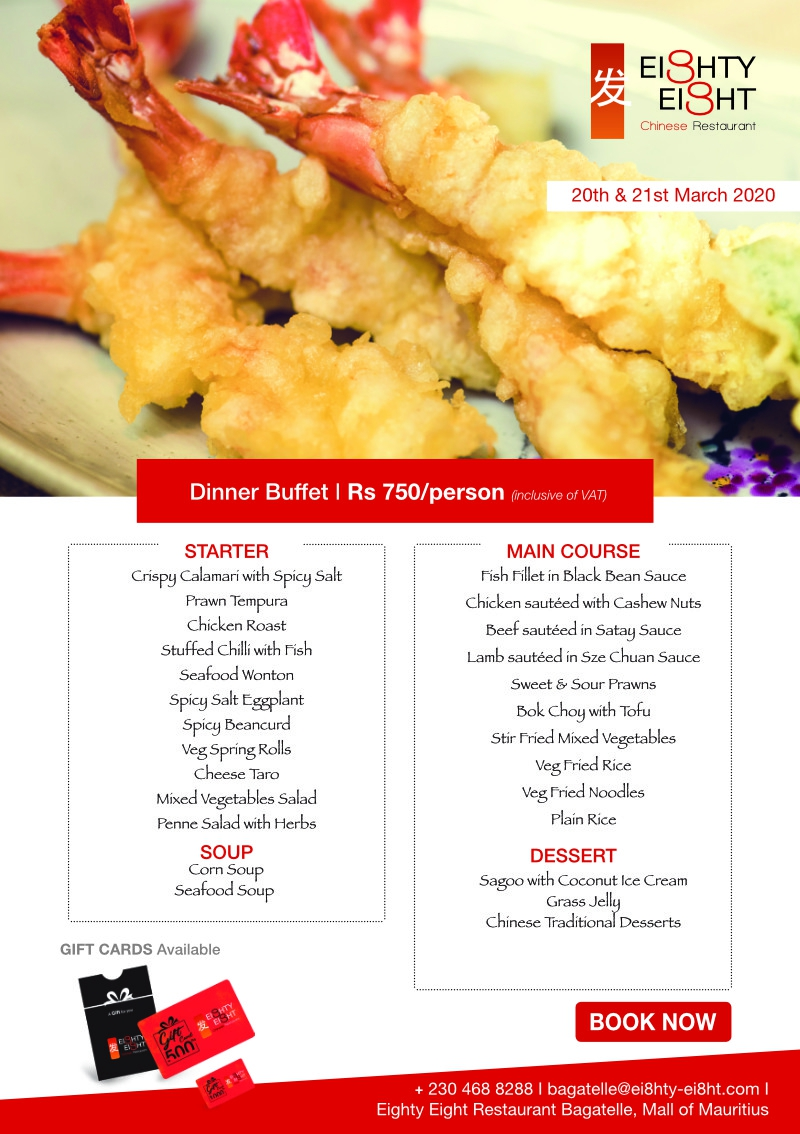 Eighty Eight Dinner Buffet for the 20th and 21st March 2020