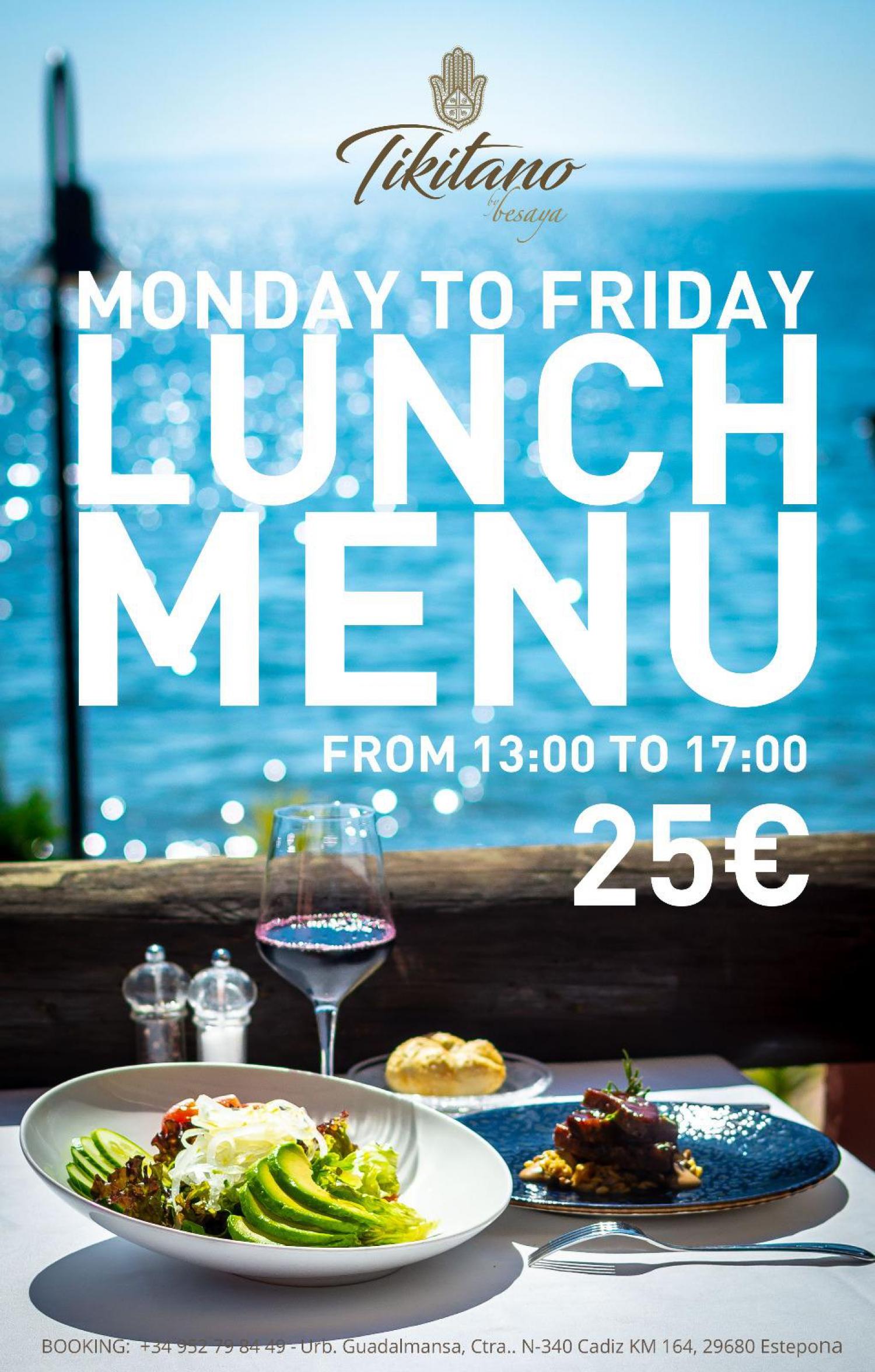 Lunch Menu at Tikitano