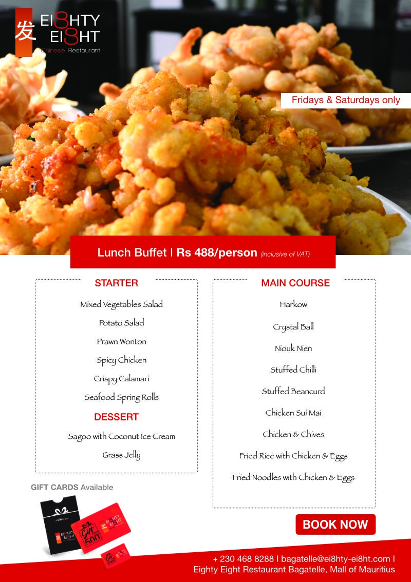 Eighty Eight Lunch Buffet every Friday & Saturday