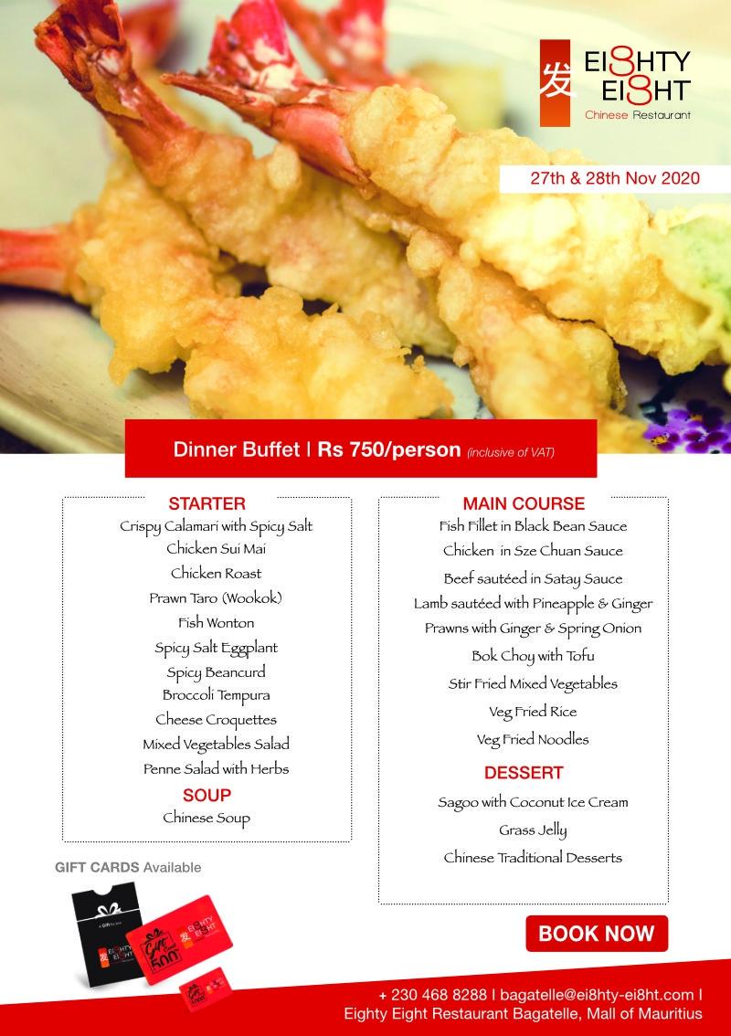 Eighty Eight Dinner Buffet - 27th & 28th November 2020
