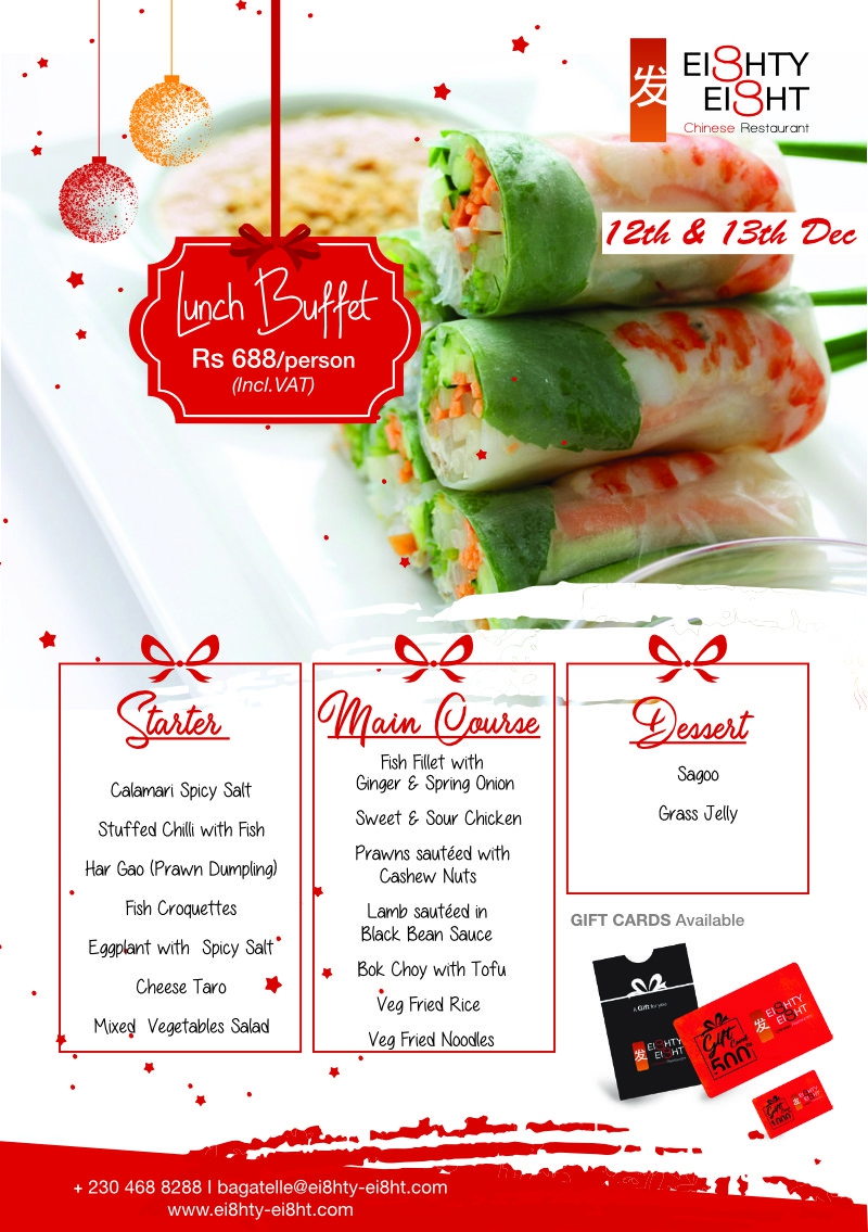Eighty Eight Lunch Buffet for the 12th & 13thDecember 2020